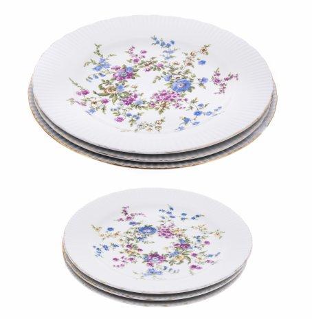 """купить Набор из 6 тарелок с цветочным декором на 3 персоны, фарфор, деколь, мануфактура """"Jlmenau"""", Германия, 1970-1990 гг."""
