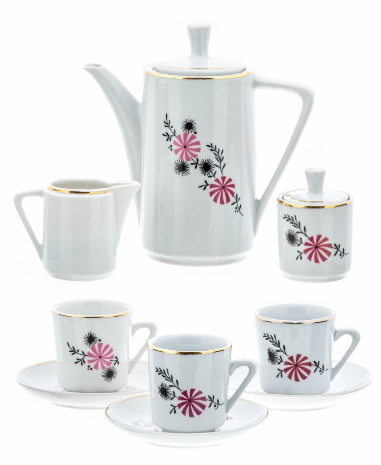 купить Сервиз кофейный миниатюрный с цветочным декором на 3 персоны (9 предметов), фарфор, деколь, золочение, СССР, 1970-1990 гг.