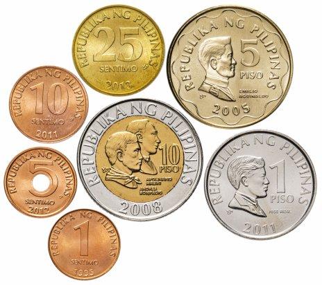 купить Филиппины набор монет 2005-2012 год 1, 5, 10, 25 сентимо, 1, 5 и 10 песо (7 штук)