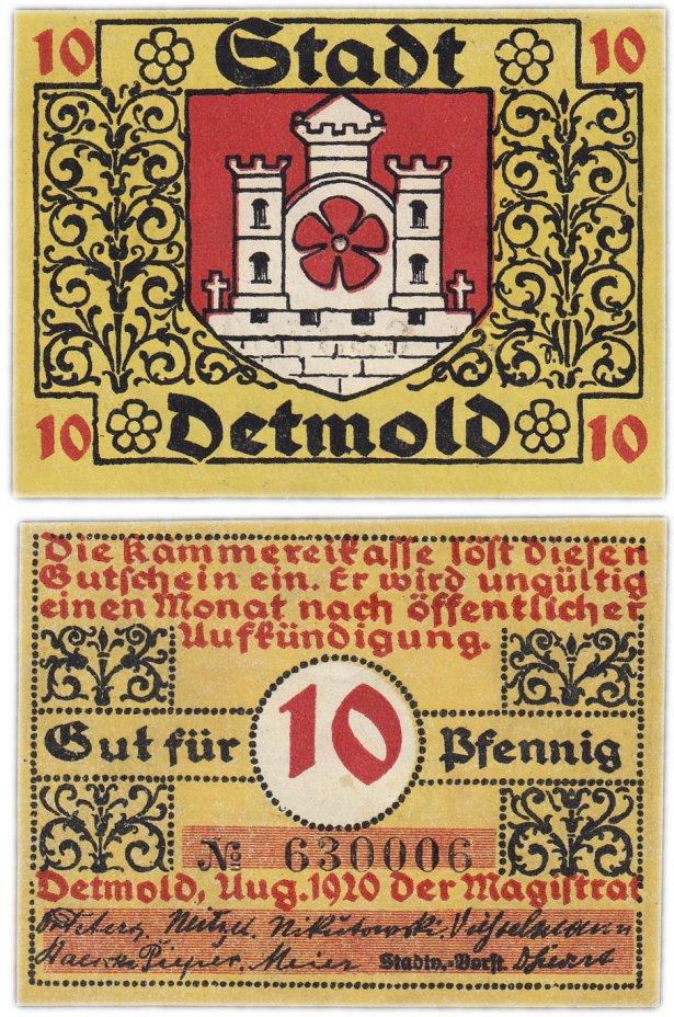 купить Германия (Липпе-Детмольд: Детмольд) 10 пфеннигов 1920 (268.2/B1)