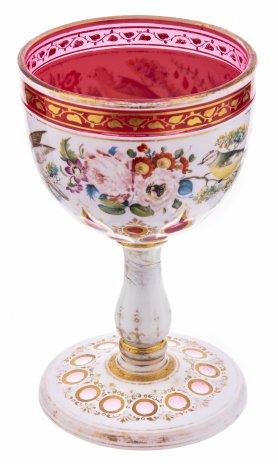 купить Кубок (фужер) с живописным изображением птиц и цветов, стекло, роспись, Западная Европа, 1900-1920 гг.