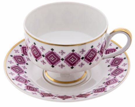 """купить Пара чайная с геометрическим орнаментом, фарфор, деколь, золочение, мануфактура """"Wallendorf"""", ГДР, 1963-1990 гг."""