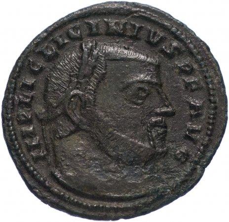 купить Римская Империя Лициний I 308–324 гг фоллис (реверс: Юпитер держит Викторию на шаре, внизу орел с венком)