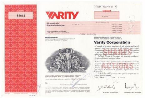 купить Акция США  Varity Corporation 1986- 1987 гг.