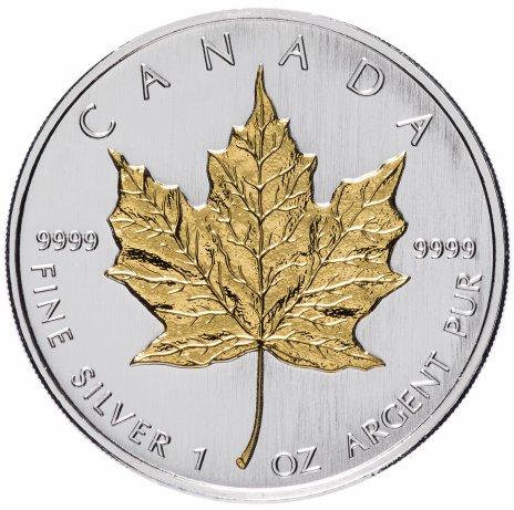 """купить Канада 5 долларов 2008 """"Кленовый лист"""" с позолотой"""