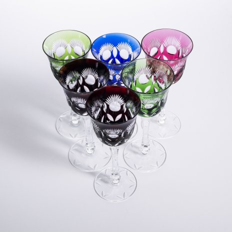купить Набор фужеров из цветного стекла на 6 персон, хрусталь, гранение, Западная Европа, 1960-1990 гг.