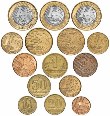 купить Бразилия набор из 15 монет 1945-2007