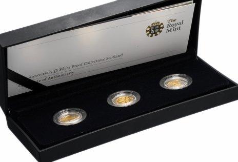 купить Великобритания набор 2008 из 3 серебряных монет с золотой инкрустацией 1 фунт в подарочной коробке с сертификатом
