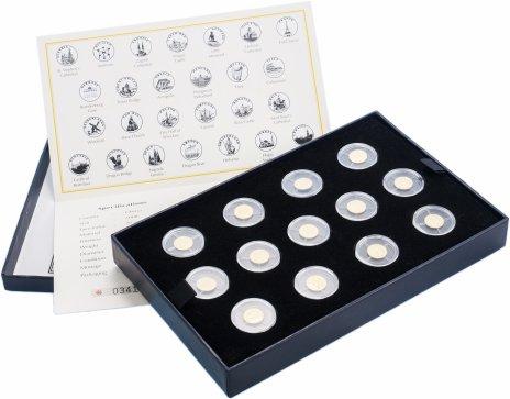 """купить Либерия набор из 26 монет 12 долларов 2008 """"Страны Европы"""" в капсулах и подарочном футляре с сертификатом"""