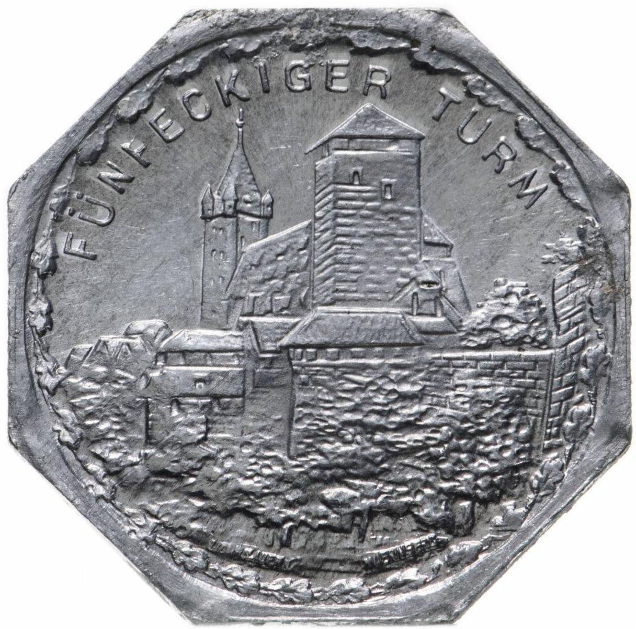 """купить Германия (Нюрнберг) нотгельд  20 пфеннигов 1921 """"Пятиугольная башня"""" трамвайный жетон"""