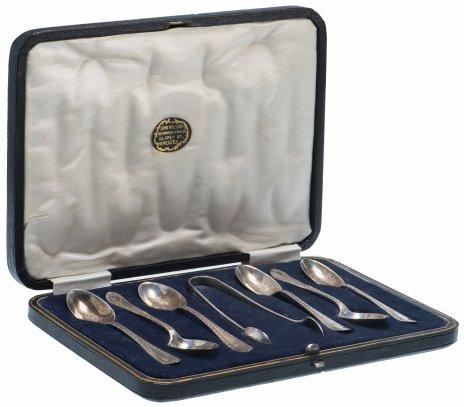"""купить Набор десертный из 7 серебряных предметов """"John Wilson"""", Великобритания, в оригинальном футляре"""
