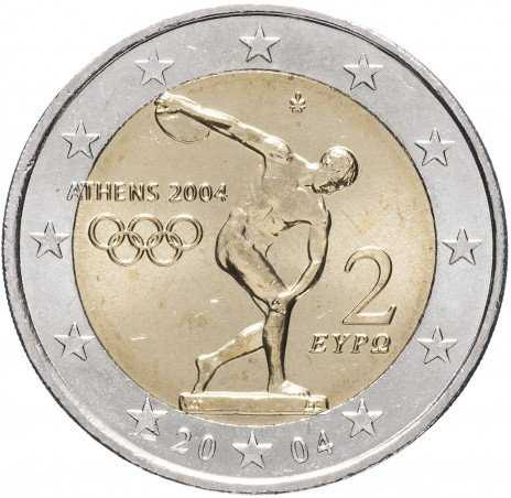 """купить Греция 2 евро 2004 """"XXVIII Летние олимпийские игры 2004 года в Афинах: Дискобол"""""""