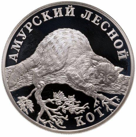 """купить 1 рубль 2004 СПМД """"Красная книга: амурский лесной кот"""""""