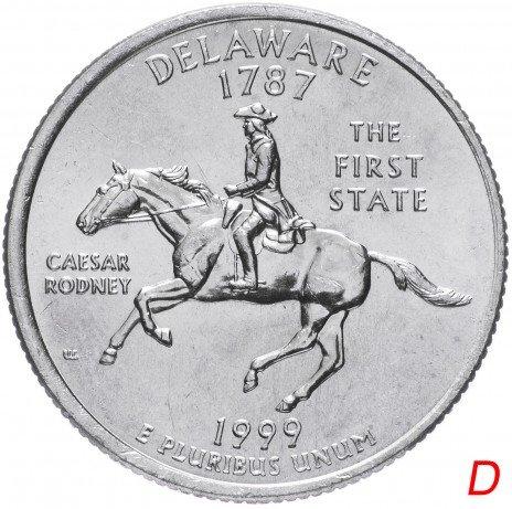 """купить США 1/4 доллара (квотер, 25 центов) 1999 D """"Штат Делавэр"""""""