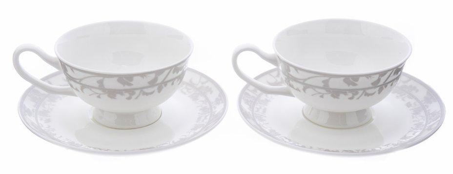 купить Дуэт чайных пар с растительным орнаментом, фарфор, деколь, Китай, 1990-2015 гг.