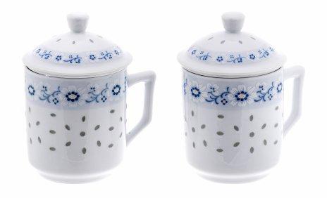 купить Набор из двух чашек с крышками и ситечками для чая, рисовый  фарфор, деколь, Китай, 1960-1990 гг.