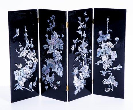 купить Ширма декоративная с инкрустацией перламутром, папье- маше, перламутр, Китай, 1960-1990 гг.