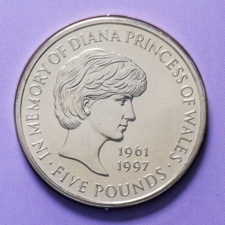 """купить Великобритания 5 фунтов 1999 """"Принцесса Диана"""" в буклете"""
