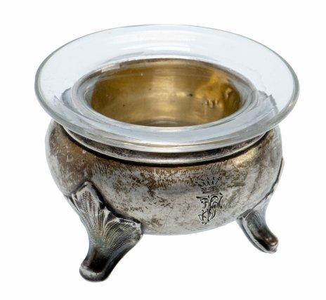 купить Солонка серебряная со стеклянной вставкой, Великобритания