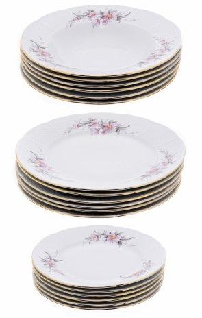 """купить Набор тарелок на 6 персон (18 предметов), фарфор, деколь, золочение, мануфактура """"Thun"""", Чехословакия, 1970-1990 гг."""