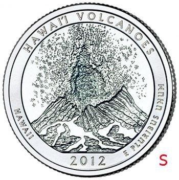 """купить США 1/4 доллара (25 центов, квотер) 2012 S — """"Национальный парк Гавайские вулканы"""" (14-й парк)"""