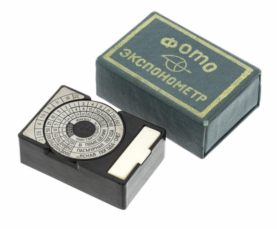 купить Оптический фотоэкспонометр в оригинальной коробке, пластик, Загорский оптико-механический завод, СССР, 1960-1970 гг.