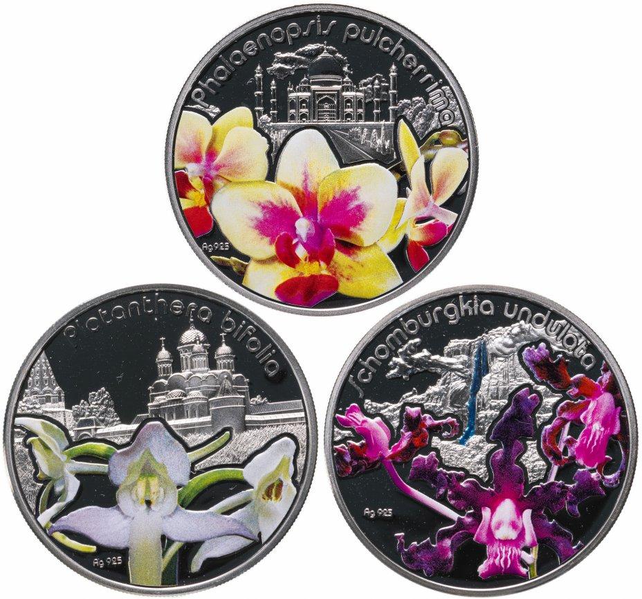 """купить Ниуэ 2013 набор из 3-х монет """"Цветы - Орхидеи"""" в футляре с сертификатом"""