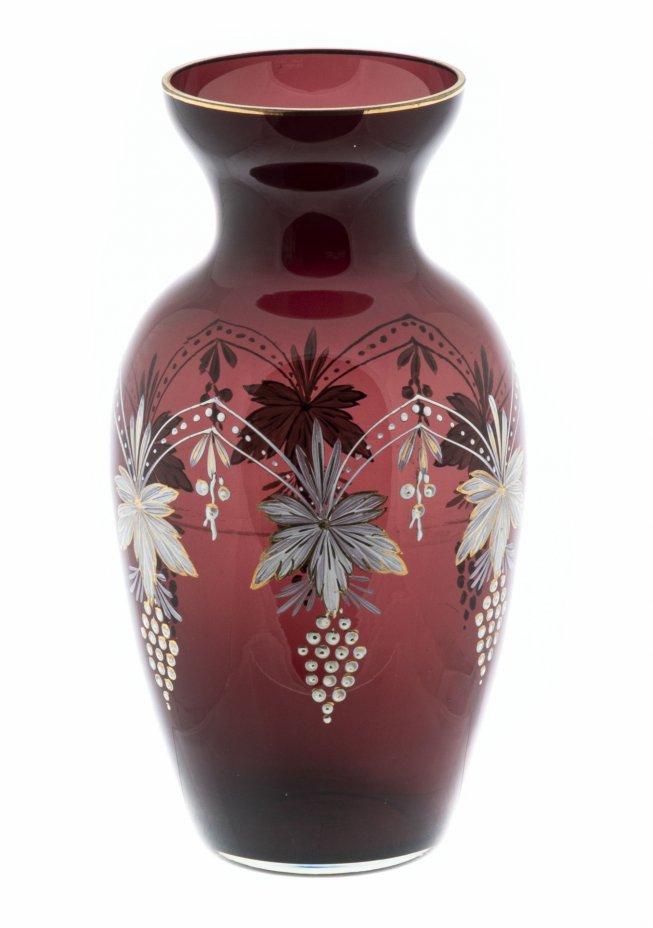 купить Ваза лаконичной формы с растительным декором,  цветное стекло, роспись, золочение, СССР, 1970-1990 гг.