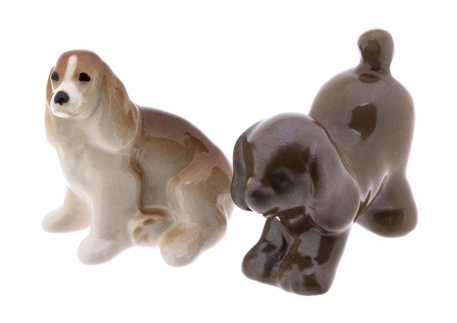 купить Набор из двух миниатюрных статуэток собак, фарфор, роспись, СССР, 1970-1990 гг.