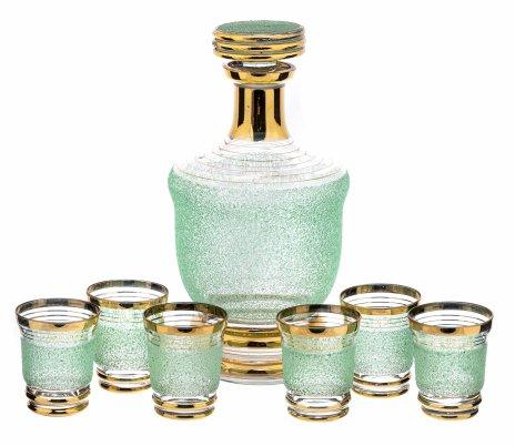 купить Набор графин, 6 стопок,  декорированный обсыпкой из зелёной стеклянной крошки, стекло, золочение, СССР, 1960-1980 гг.