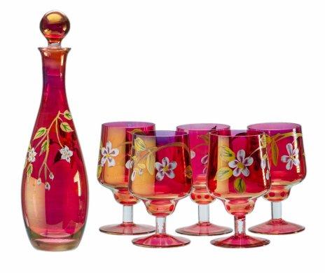 купить Набор для напитков на 5 персон (штоф и 5 бокалов), цветное стекло, ручная роспись, Богемия, Чехия, 1980-1990 гг.