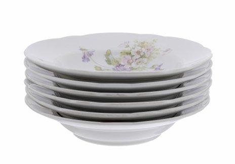 купить Набор суповых тарелок на шесть персон с цветочным декором, фарфор, деколь, Российская Империя, 1880-1917 гг.