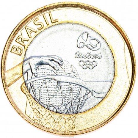 """купить Бразилия 1 реал 2015 """"XXXI летние Олимпийские Игры, Рио 2016 - Баскетбол"""""""