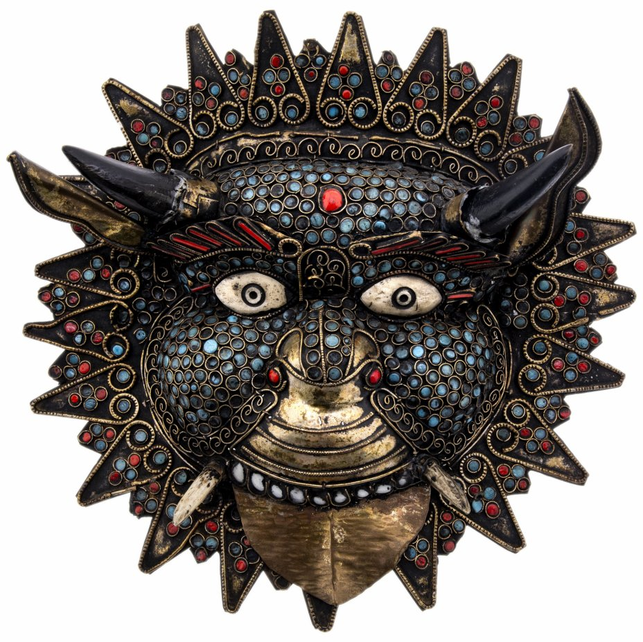 купить Маска сувенирная декоративная, латунь, эмаль, кость, Индия, 1970-1990 гг.