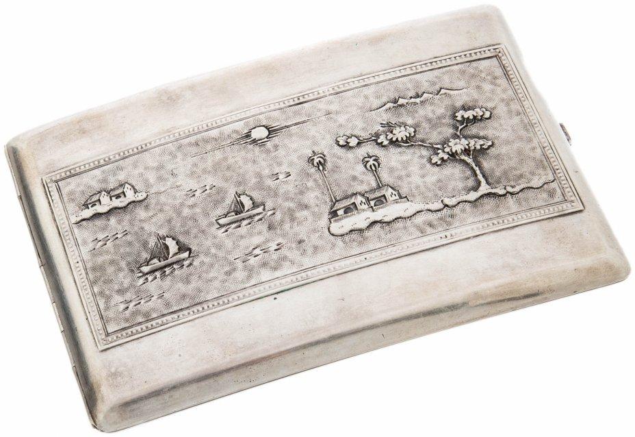купить Портсигар декорированный пейзажем в восточном стиле, серебро 875 пр., СССР, 1970-1990 гг.