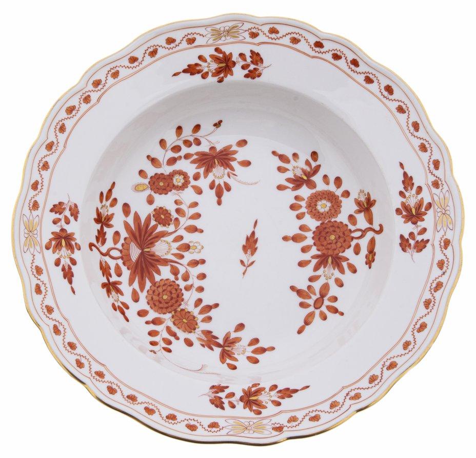 """купить Тарелка суповая """"Индийский цветок"""", фарфор, деколь, Мейсенская фарфоровая мануфактура, Германия, 1970-1980 гг."""