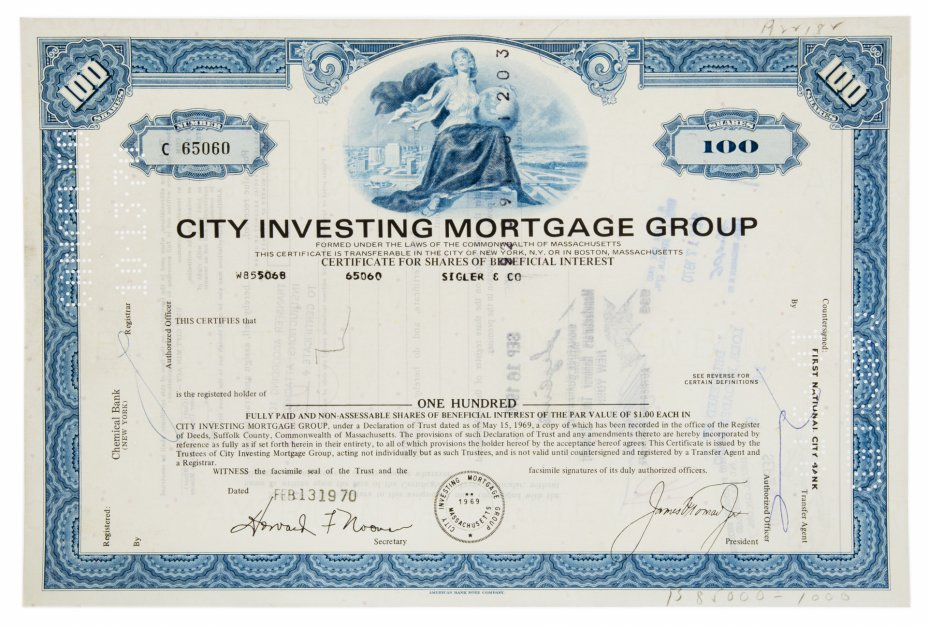 купить Акция США CITY INVESTING MORTGAGE GROUP, 1969-  1970 гг.