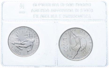 """купить Сан-Марино набор из 2-х монет 1988 """"Олимпийские игры в Калгари"""" в запайке"""