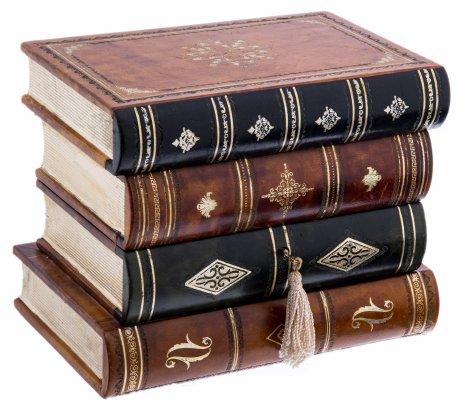 купить Шкатулка в виде стопки книг с замочком, дерево, кожа, ткань, тиснение, Италия, 2000-2015 гг.