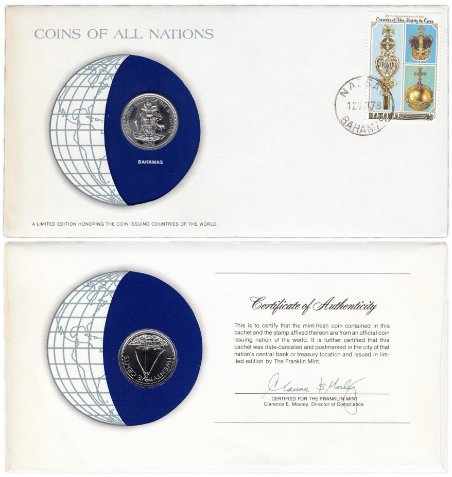 купить Серия «Монеты всех стран мира» - Багамы 25 сантимов 1979 (монета и 1 марка в конверте)