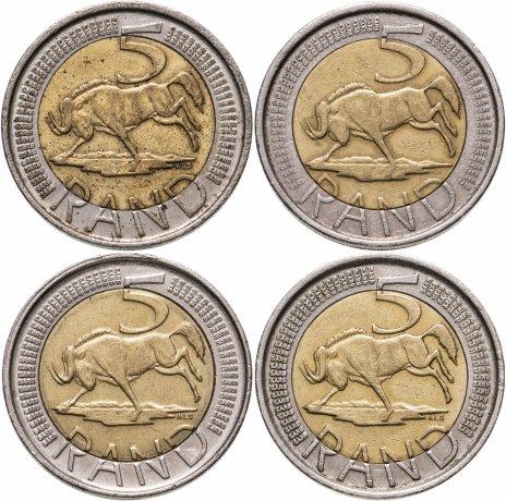 купить ЮАР набор из 4-х монет 5 рандов  2004-2017