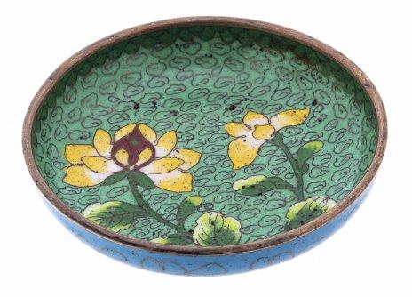 купить Розетка (блюдце) в технике клуазоне с изображением растений, медь, эмаль, Китай, 1950-1980 гг.