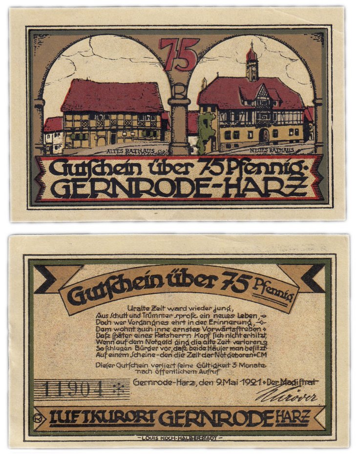 купить Германия (Саксония: Гернроде) 75 пфеннигов 1921