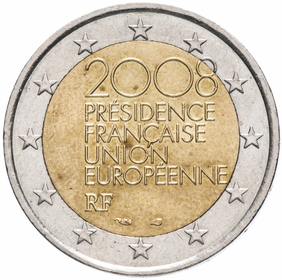 """купить Франция 2 евро (euro) 2008 """"Председательство Франции в Совете Европейского Союза"""""""
