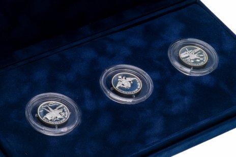 купить Набор из 3 монет 1 рубль 2007 Космические войска (Байконур, Ракета-носитель, эмблема) в футляре