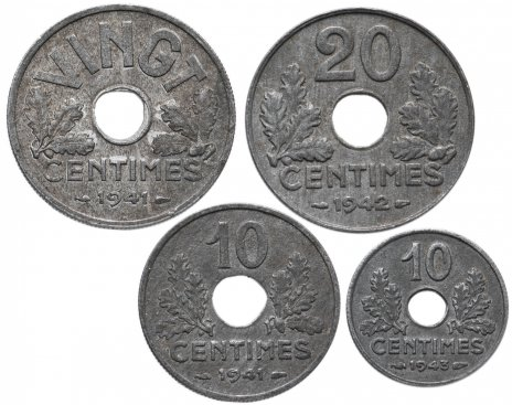купить Франция набор цинковых монет 1941-1943 (4 монеты)