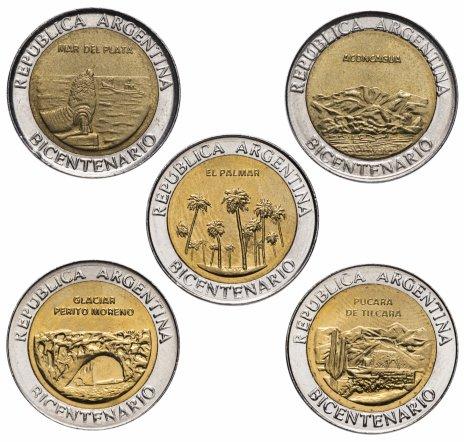 """купить Аргентина набор из 5 монет  1 песо 2010 """"200 лет Аргентине"""""""