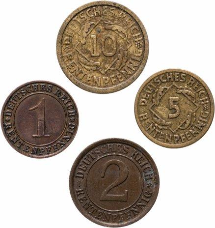 """купить Германия, набор из 4 монет (рентенпфенниг / rentenpfennig) 1924 A, Отметка монетного двора """"A"""" — Берлин"""