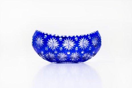 купить Ваза (фруктовница) овальной формы, богато декорированная резным декором,  цветной хрусталь, Чехия, 1990-2000 гг.