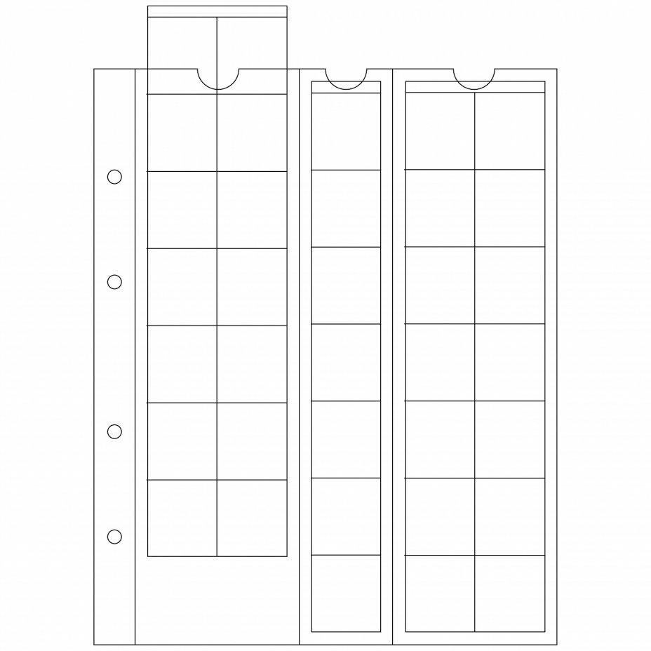 купить Лист Leuchtturm (Германия) формата Optima (200х250 мм) M35 на 35 ячейки для монет до 27мм, 306013